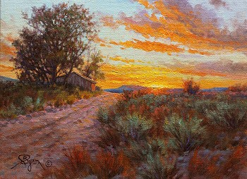 Impressionist sunset oil paitning by Byron