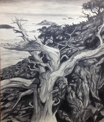 landscape pencil drawing from high school by William Hagerman