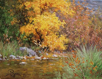 impressionist landscape autumn oil painting by Byron