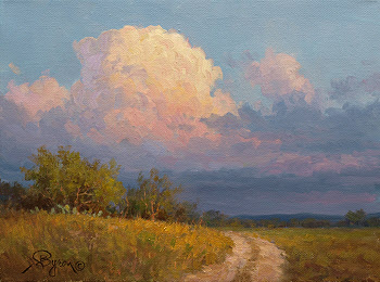 landscape oil painting, thunderhead cloud by Byron Hagerman