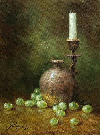 still life oil painting with grapes vase candle by Byron