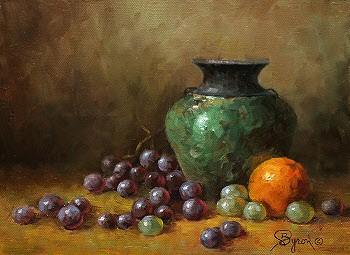 still life oil painting with raku vase grapes orange by Byron