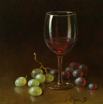 Wine glass with grapes oil painting