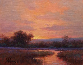 landscape sunset oil painting red sky