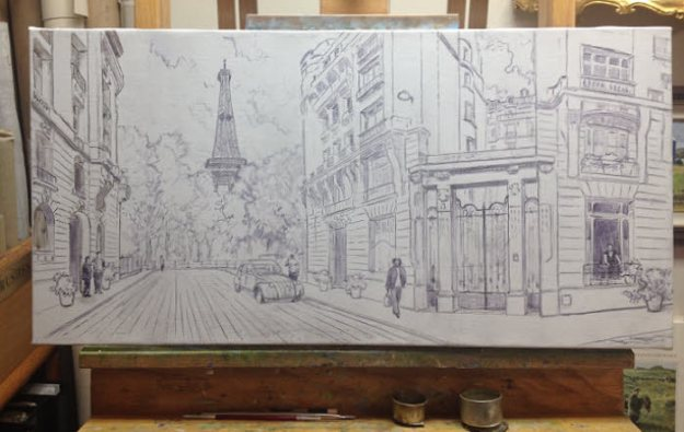Composition on canvas of Paris. Commissioned painting by Byron copyright 2017