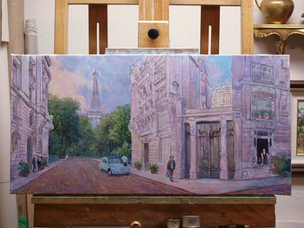 oil painting demo paris street scene