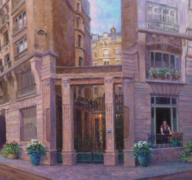 oil painting demo paris france wrought iron gate entry