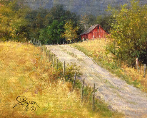 oil painting landscape old red barn next to road
