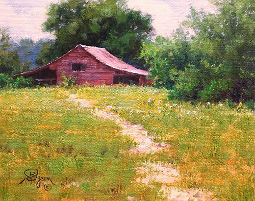 landscape oil painting old red barn by Byron