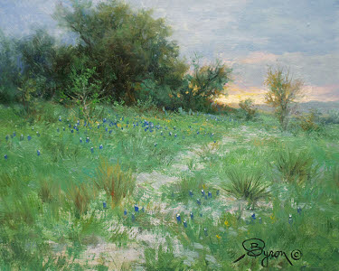 sunset bluebonnet oil painting by William Byron Hagerman