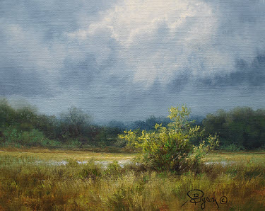 rain clouds landscape oil painting by Byron