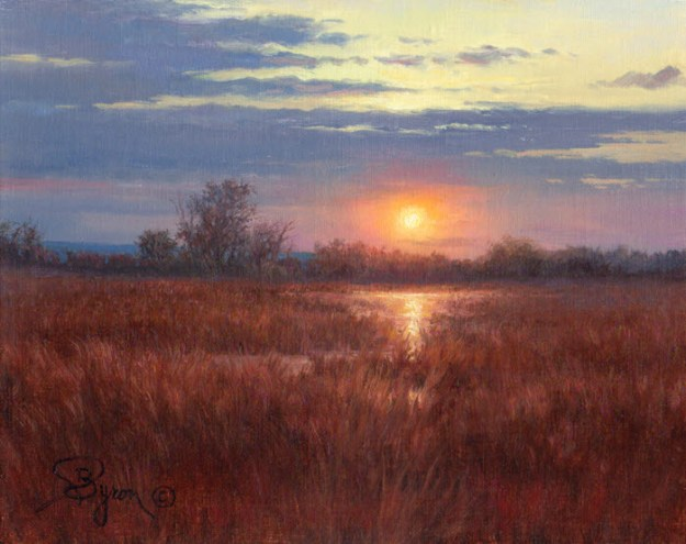 sunset oil painting eBay auction by William Byron Hagerman