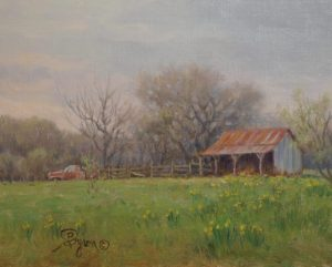 landscape oil painting old barn truck daffodils
