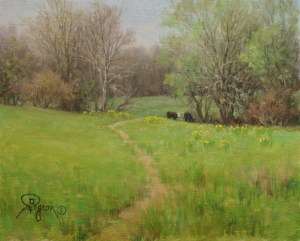 spring landscape oil painting grazing cows trees