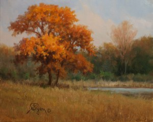 autumn landscape oil painting oak tree evening light
