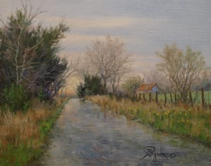 landscape oil painting by William Byron Hagerman wet road old barn late evening