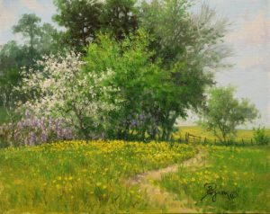 """oil painting of white dogwood tree and wisteria by William """" Byron"""" Hagerman"""