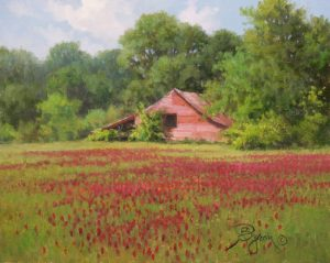 "Red Barn and field of Red Clover plein air oil painting by William ""Byron"" Hagerman"
