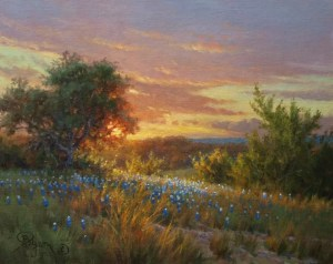Texas hill country bluebonnet at sunset oil painting by William Byron Hagerman