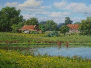 landscape oil painting, painting of old barns by William Hagerman