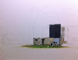 barn and silo painting in progress by William Hagerman. Image copyright 2013 all rights reserved