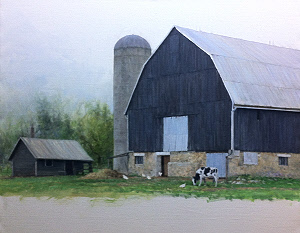 barn and silo3 painting in progress by William Hagerman. Image copyright 2013 all rights reserved