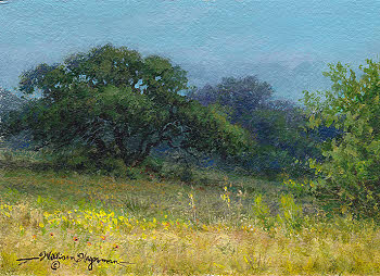 5x7 small landscape with oaktree in acrylic by William Hagerman