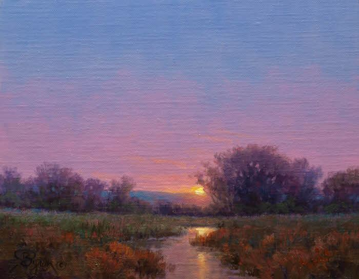 Sunset impressionist landscape oil painting by Byron