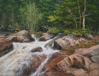 realistic waterfall landscape oil painting by William Hagerman