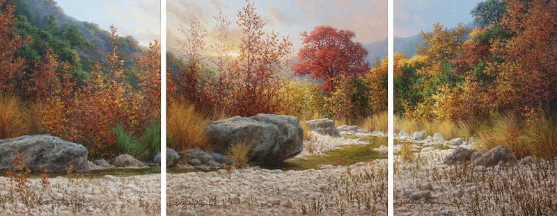 realistic landscape oil painting Texas autumn fall tryptych by William Hagerman