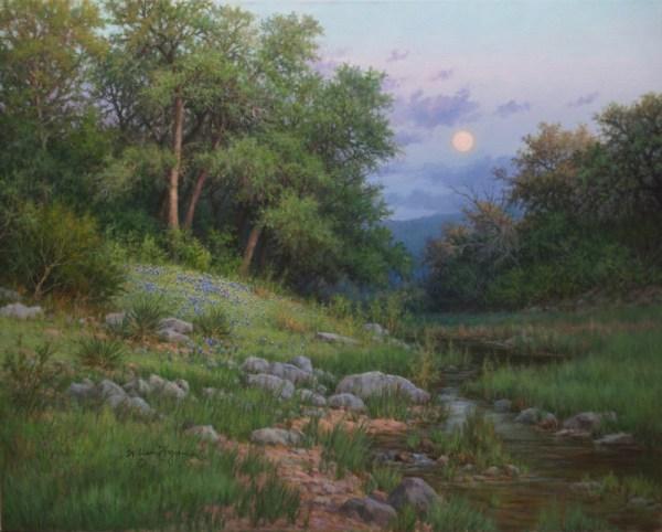 realistic landscape oil painting bluebonnets oak trees stream moonrise by William Hagerman