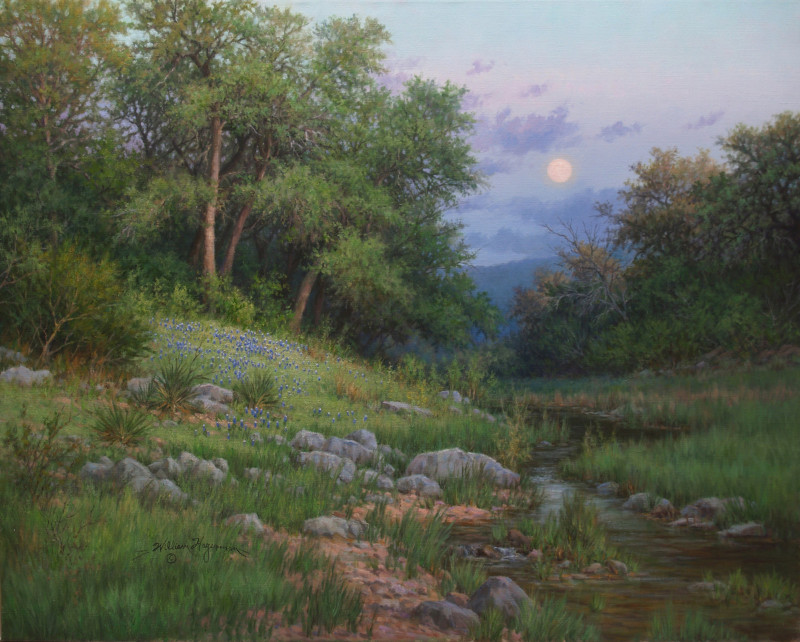 realistic landscape oil painting bluebonnets oak trees stream moonrise by William Hagerman