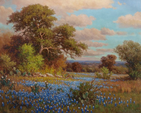 bluebonnet oil painting qualified original customized hand embellished giclee by artist William Byron Hagerman
