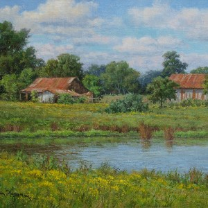 realistic landscape oil painting of barns by artist William Hagerman