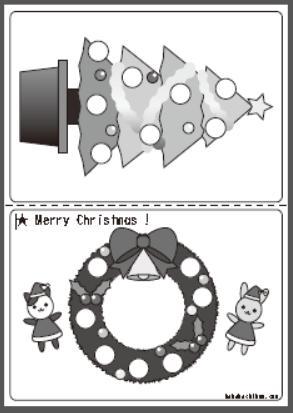 シール貼り_クリスマス_bw