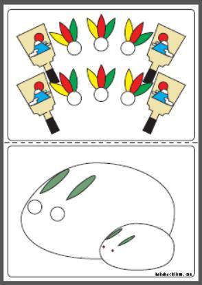 シール貼り_雪ウサギ-羽子板_color