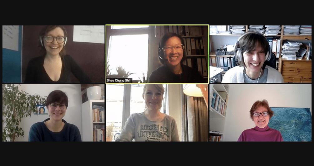 Screenshot mit Teilnehmerinnen des wöchentlichen Video-Co-Bloggens.