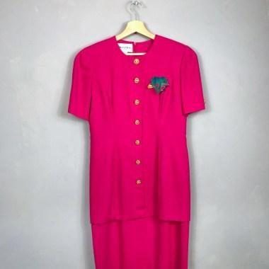 DANNY & NICOLE NEW YORK Vintage Sekretärinnenkleid hot pink