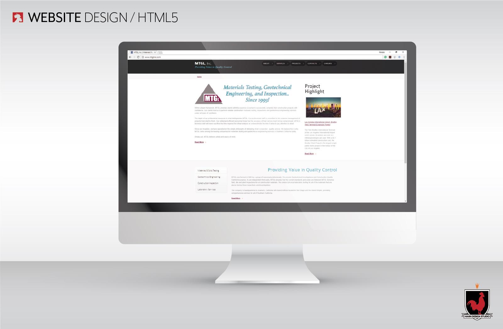 Website Design, HTML5 | MTGL, Inc., Hahn Design Studio, San Marcos, California