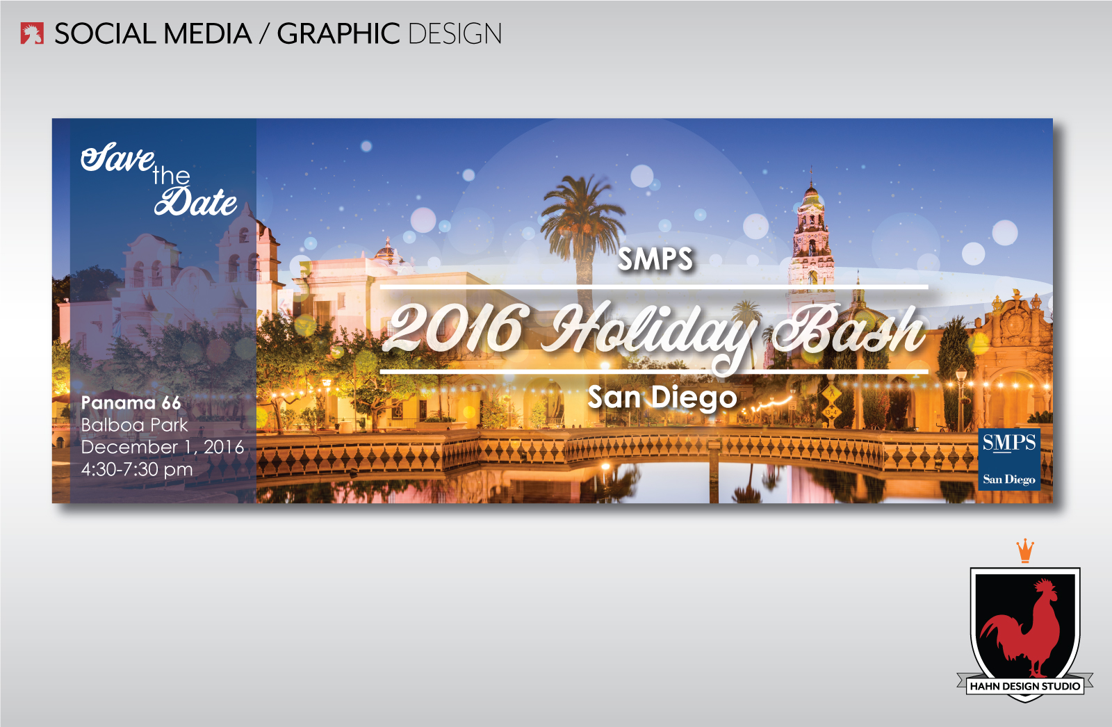 Graphic Design | 2016 Holiday Party Invitation | SMPS San Diego Chapter