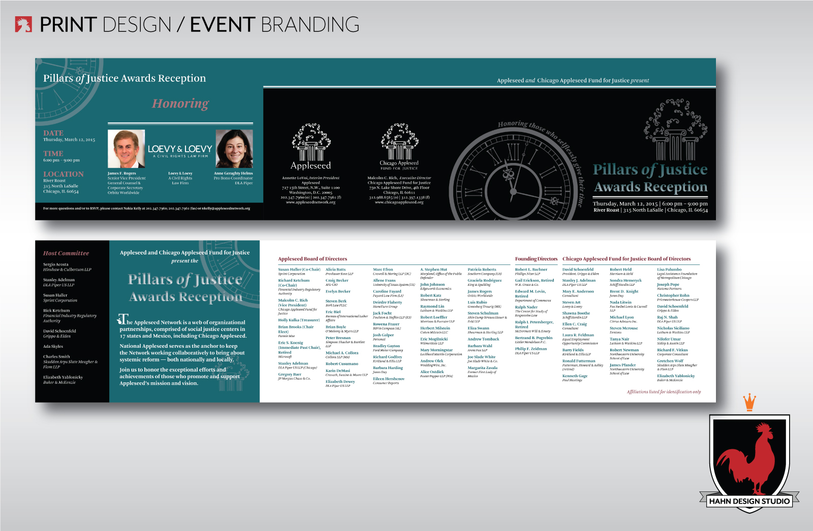 Event Branding, graphic and print design for the 2015 Chicago Appleseed Pillars of Justice Awards Reception