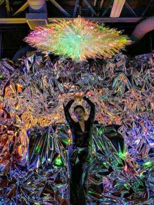 "Artist Haiiileen with her LED acrylic light sculpture ""Ora"""