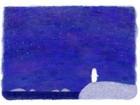 夜空を見上げるペンギン
