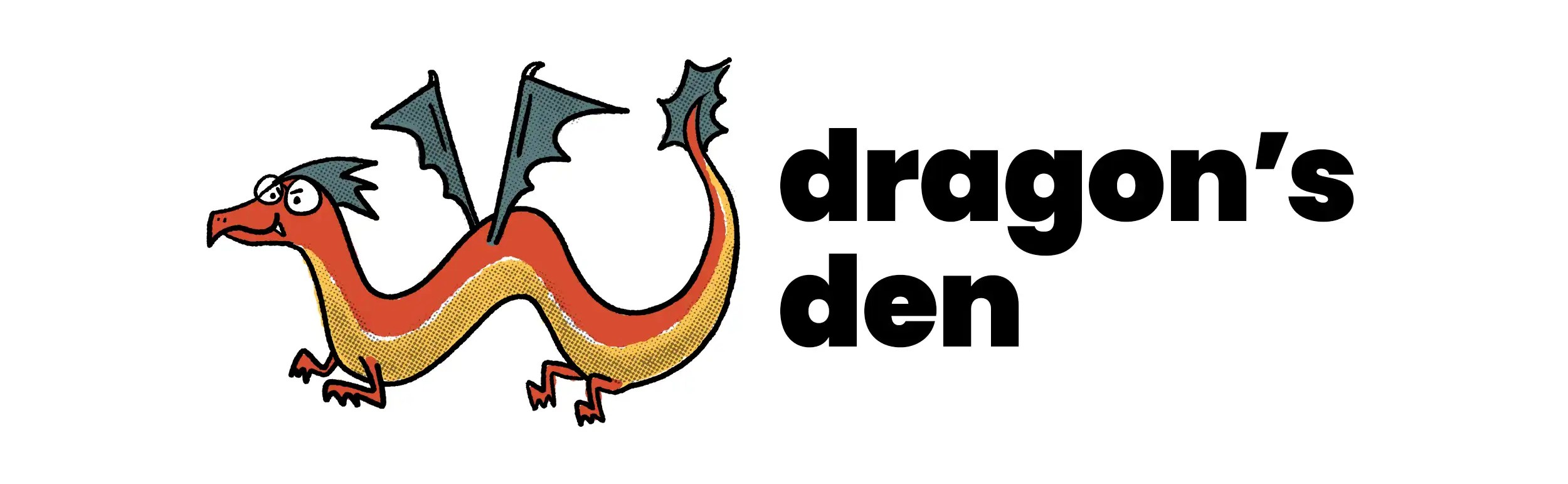Dragon's Den Discussion banner featuring a red, yellow, and blue dragon with glasses