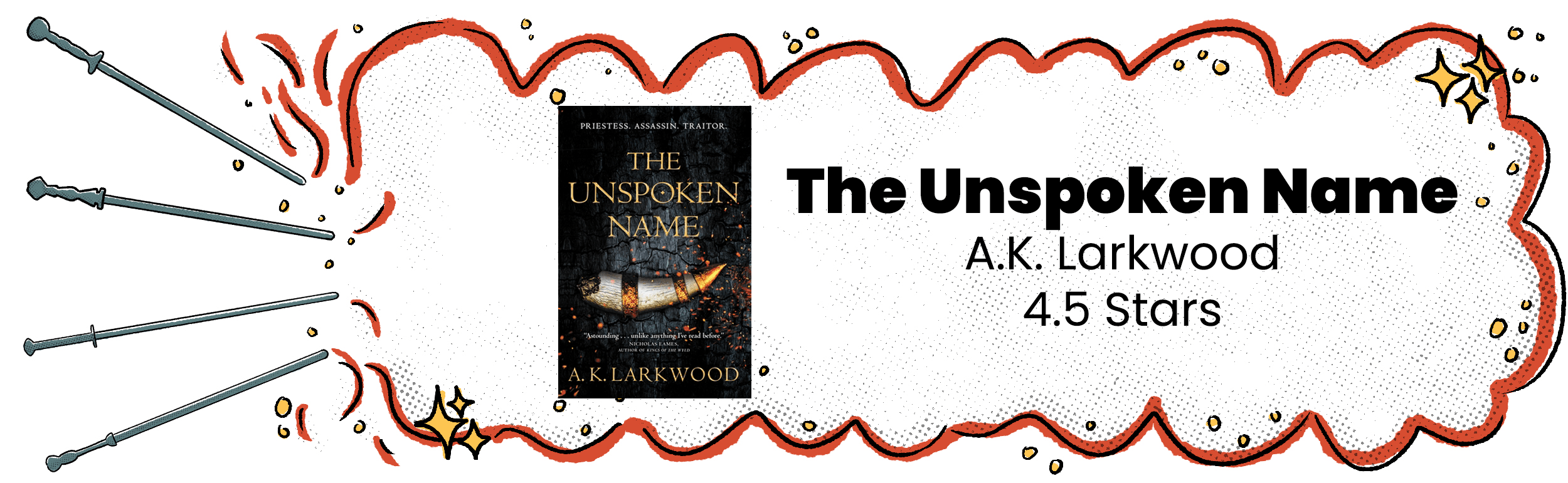 Review banner with The Unspoken Name cover and 4.5 star rating