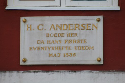 I'm not totally sure what this little plaque says, but I'm guessing it just tells you that this is where Hans Christian Andersen lived.