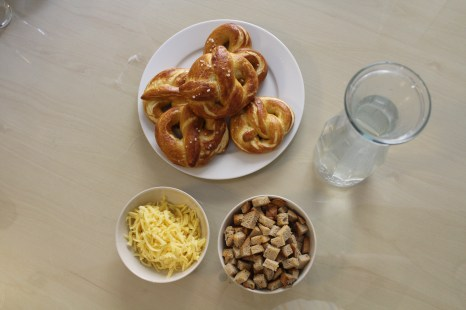 Homemade pretzels in my culinary class. The cheese and croutons were toppings for soup!