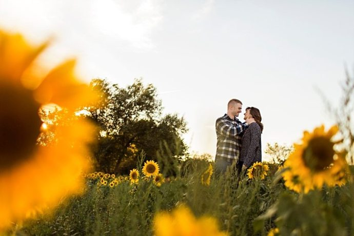 A couple embraces in a sunflower field in Newbury, Massachusetts.