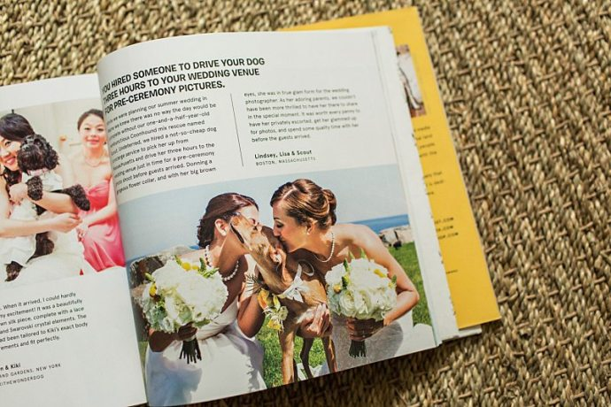A photo taken by Hailey & Joel of two brides with their dog published in a book.