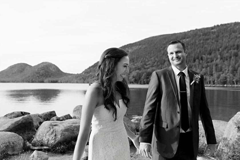 Newlyweds in Acadia National Park.
